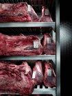 Vista de cerca de las piezas de carne de res en los estantes en el refrigerador en la carnicería - foto de stock