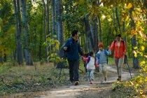 Familia asiática joven feliz con mochilas y senderismo palos de caminar juntos en el bosque - foto de stock