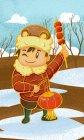 Illustrazione di Capodanno con ragazzo felice che tiene la lanterna rossa in inverno — Foto stock