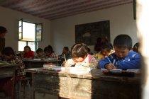 Studenti delle scuole primarie seduti e che scrivono nella scuola primaria rurale — Foto stock