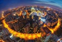 Vue aérienne de Wangjing, scène de nuit de bâtiments de ville de Pékin — Photo de stock