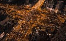 Vista aérea del edificio del CBD y escena nocturna en Beijing - foto de stock