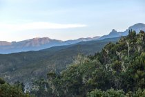 Incrível paisagem montanhosa com árvores verdes nas encostas da montanha durante o dia — Fotografia de Stock