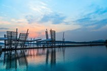 Province de Jiangsu, Wuxi paysage du lac pendant le lever du soleil, Chine — Photo de stock