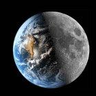 Increíble vista de la tierra a la síntesis de la imagen de la luna en negro - foto de stock