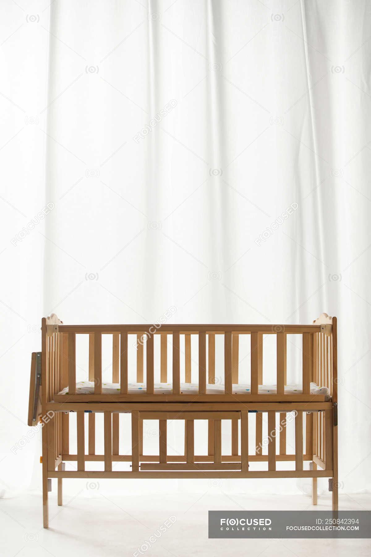 Brown Wooden Baby Bed In Empty Light Room Interior Nursery Childish Stock Photo 250842394