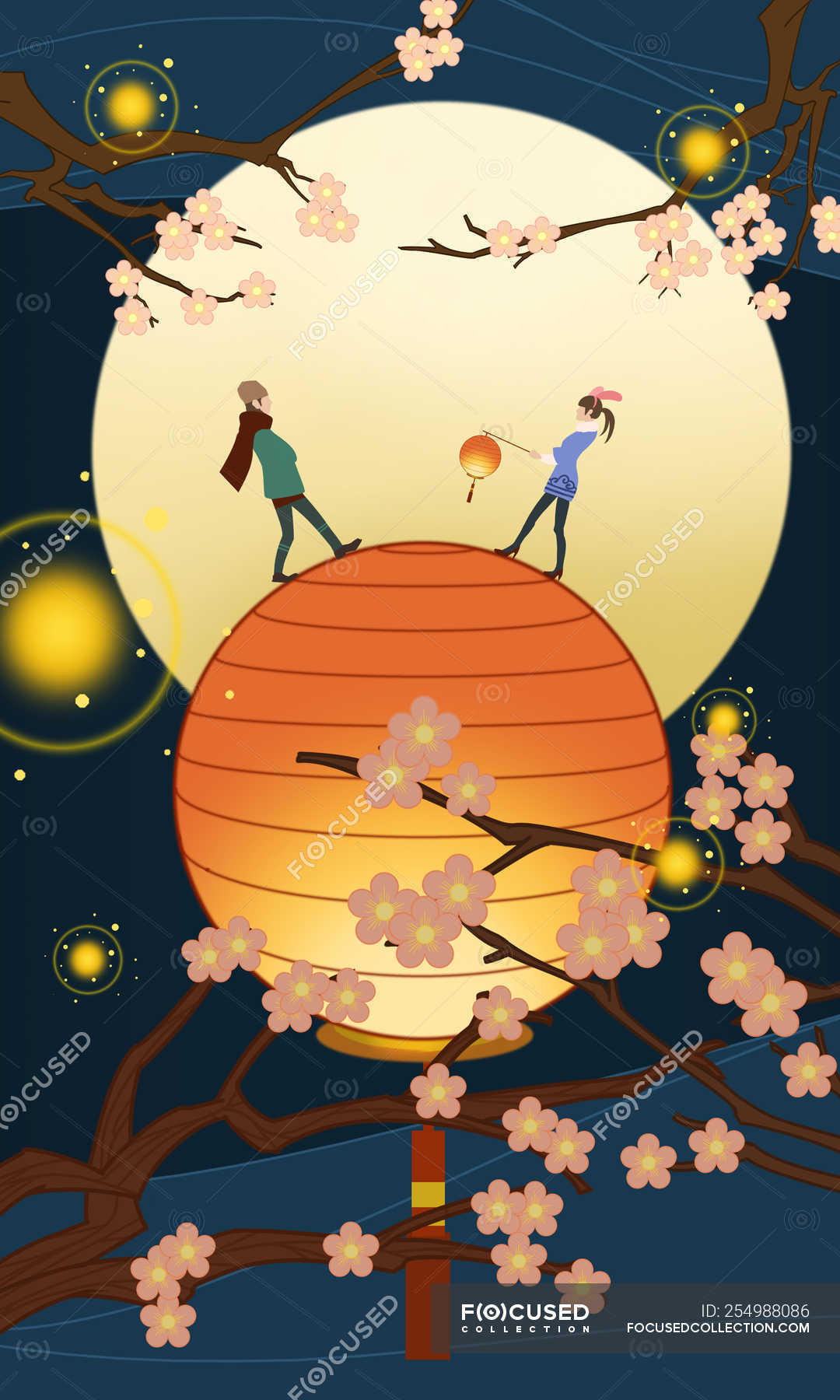Beautiful Creative Illustration Of Couple On Illuminated Lantern And Blossoming Tree Branches Lantern Festival Concept Drawing Hand Drawing Stock Photo 254988086