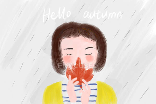 Beautiful illustration of girl holding red maple leaf and hello autumn inscription — Stock Photo