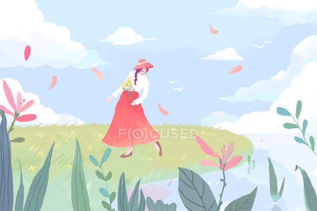 Beautiful illustration of young woman in red skirt and hat walking on green meadow — Stock Photo