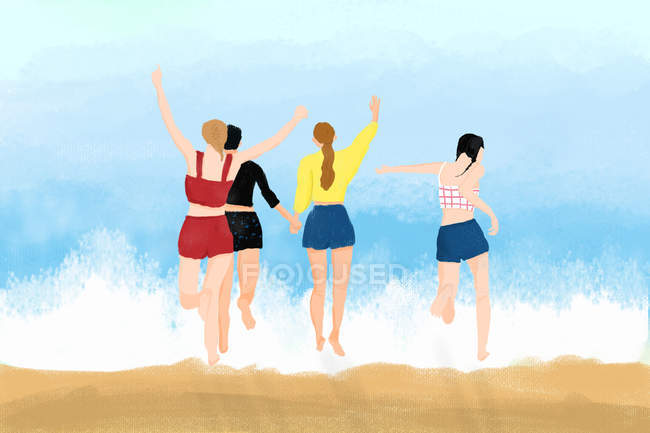 Beautiful illustration of young women running into sea at summertime — Stock Photo
