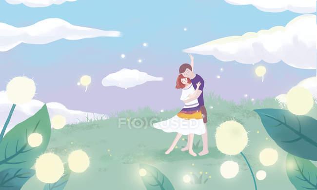 Гарні ілюстрації молодих романтична пара обіймає зелені Луки — стокове фото