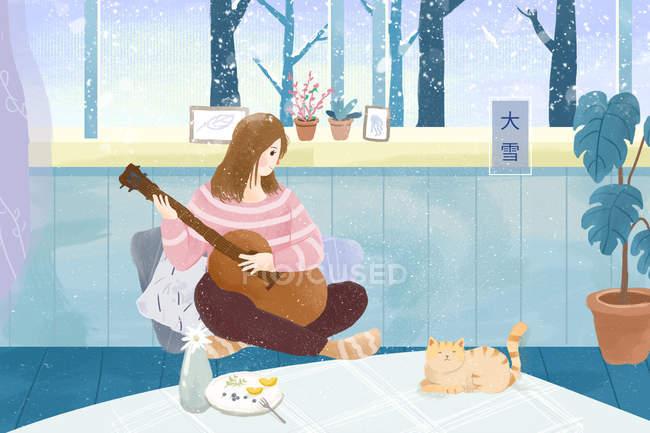 Красиві ілюстрація того, молода жінка, грав на гітарі і, дивлячись на зимовий час чарівні кішка — стокове фото