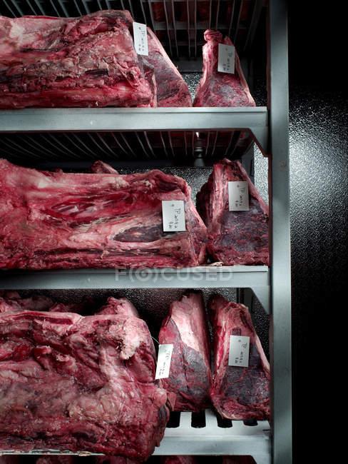 Крупным планом вид на полках в холодильник в мясной лавке кусков говядины — стоковое фото