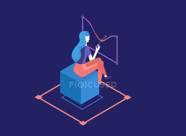 Beautiful illustration of girl sitting on blue cube on geometric background — Stock Photo