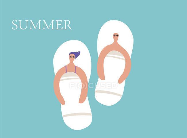 Творча ілюстрація з кумедними сандалі з чоловічими і жіночими персонажами ізольованими на синьому фоні і літньому написі. — стокове фото