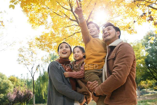 Низький кут зору щасливі молоді азіатські родини з двома дітьми, дивлячись у Осінній Парк — стокове фото