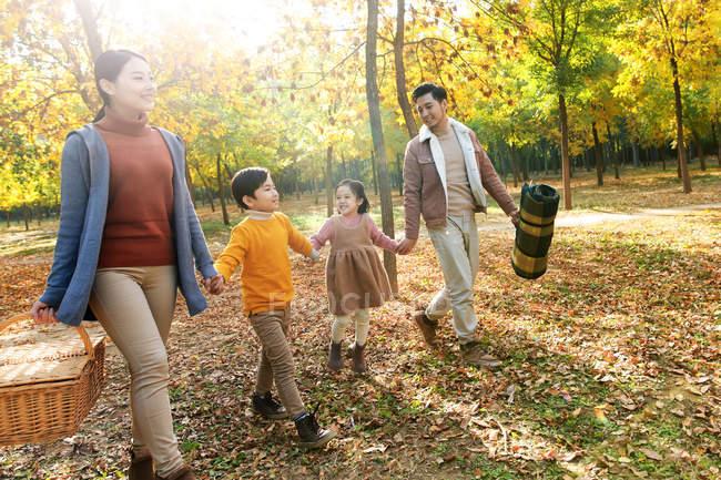 Família feliz com cesta de piquenique de mãos dadas e caminhando na floresta de outono — Fotografia de Stock