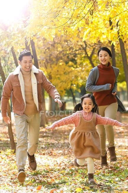 Felices padres asiáticos e hija en Parque otoñal - foto de stock