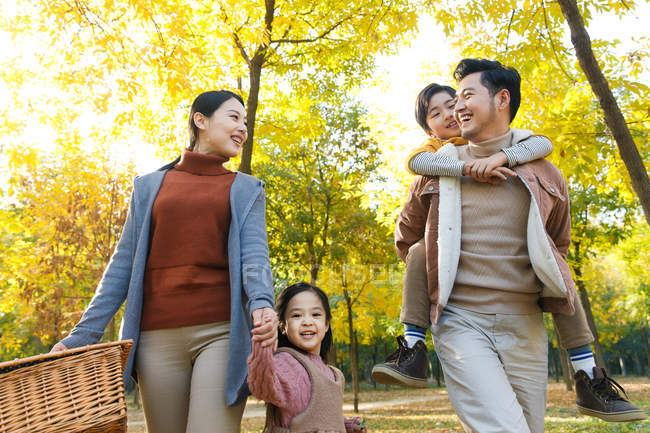Vista de ângulo baixo da família asiática jovem feliz com a cesta de piquenique, caminhando no parque outono — Fotografia de Stock
