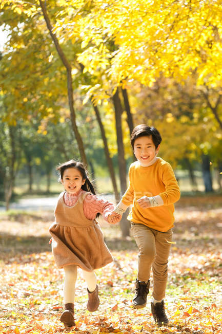 Adorable happy asian kids smiling at camera and running together in autumn forest — Stock Photo