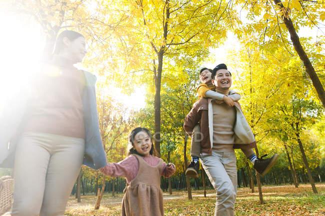Vista a basso angolo di felice giovane famiglia asiatica con cestino da picnic a piedi nel parco autunnale — Foto stock
