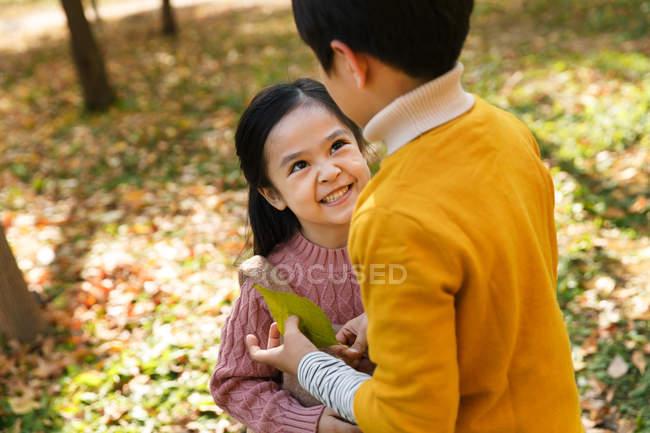 Blick aus der Vogelperspektive auf fröhliche süße asiatische Kinder, die zusammen im Herbstpark spielen — Stockfoto