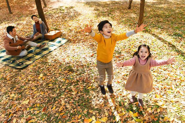 Vista de ángulo alto de adorables niños felices jugando con hojas de otoño y padres descansando en cuadros con guitarra y cesta de picnic en el parque - foto de stock