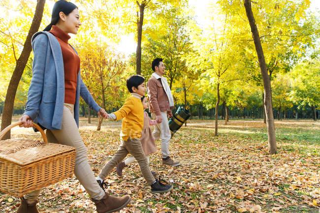 Glückliche Familie mit Picknick-Korb, Hand in Hand und Wandern im herbstlichen Wald — Stockfoto