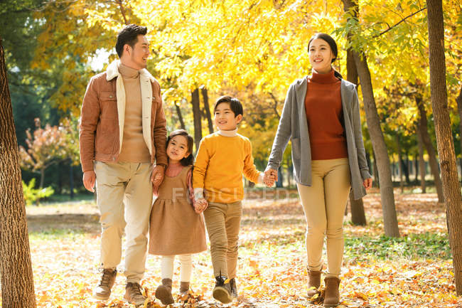 Happy young asian family with two children holding hands and walking together in autumn park — Stock Photo