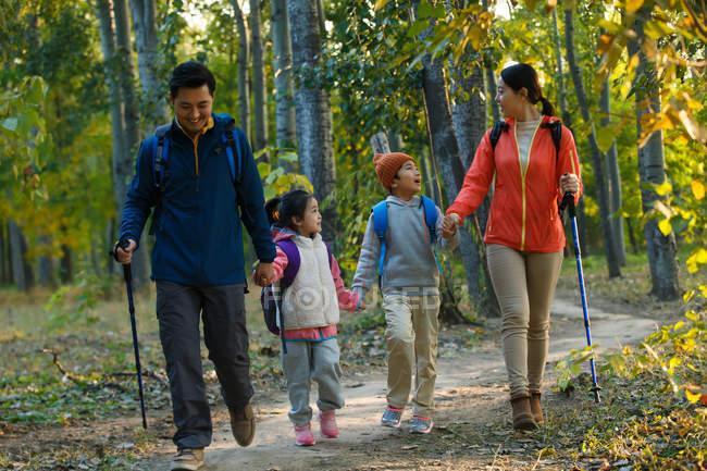 Jovem asiático família com mochilas e trekking varas segurando as mãos e caminhando juntos na floresta — Fotografia de Stock