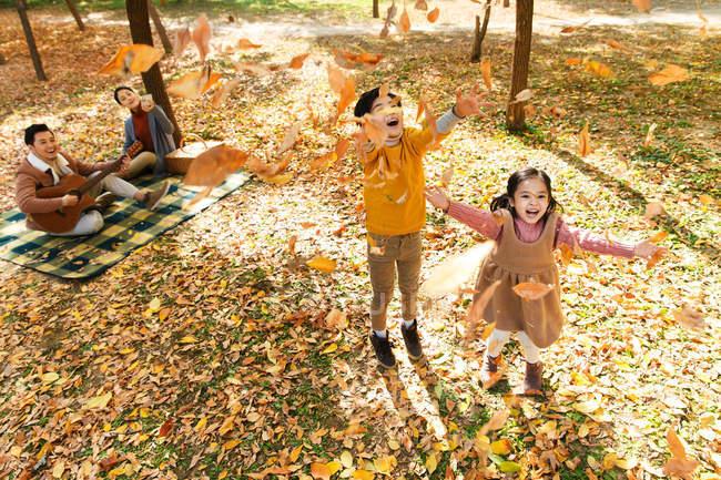 Visão de alto ângulo de crianças felizes brincando com folhas de outono, enquanto os pais descansam em xadrez xadrez no parque — Fotografia de Stock