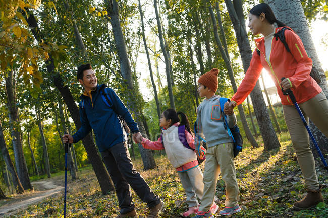 Happy young family with backpacks and trekking sticks holding hands and walking together in autumn forest — Stock Photo