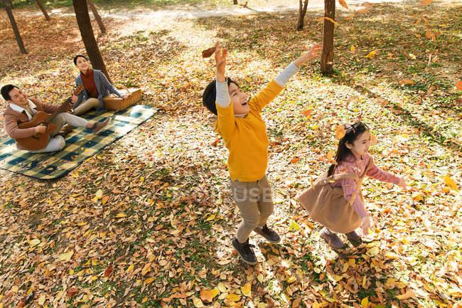 Vista ad alto angolo di bambini felici che giocano con le foglie autunnali mentre i genitori riposano sul plaid a scacchi nel parco — Foto stock