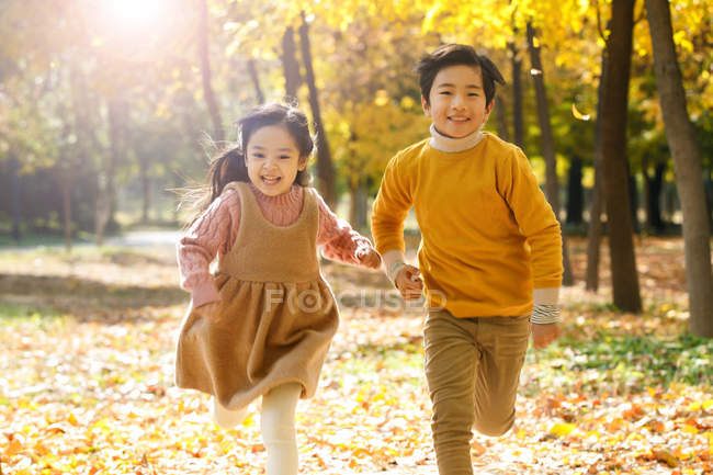Adorable happy asian brother and sister running together in autumn forest — Stock Photo
