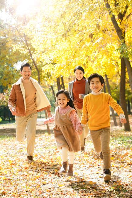 Feliz família asiática jovem com duas crianças correndo no parque outono — Fotografia de Stock