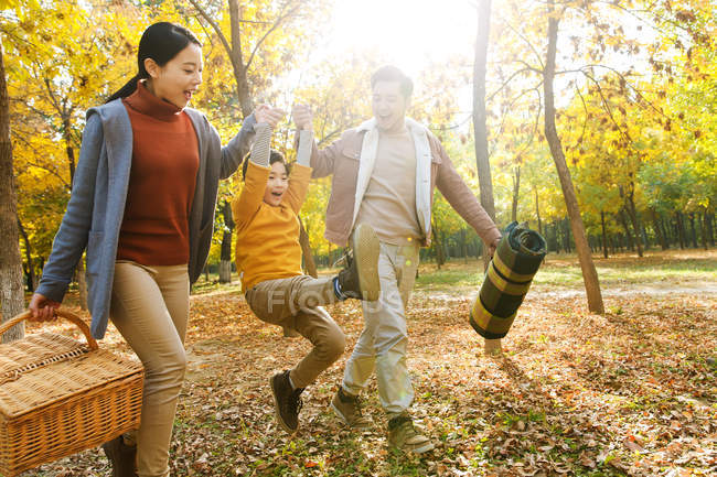Happy asian parents and son holding hands and having fun in autumnal park — Stock Photo