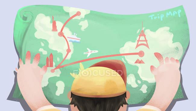 Красивая творческая иллюстрация мальчика проведения поездки карта, вид на спину — стоковое фото