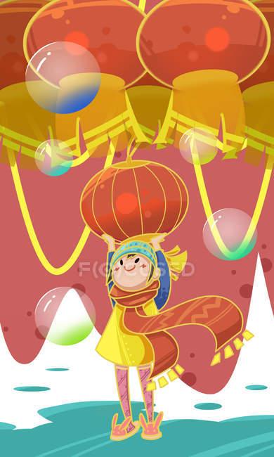 Творча ілюстрація дитини з червоними гірськими ліхтарями і бульбашками — стокове фото