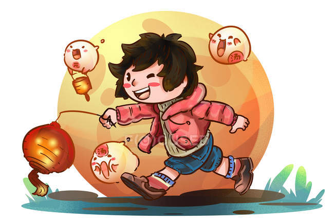Beautiful creative illustration of happy girl holding illuminated lantern and running outdoor, Lantern festival concept — Stock Photo