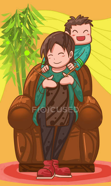 Beautiful creative illustration of happy child and mother knitting at home — Stock Photo