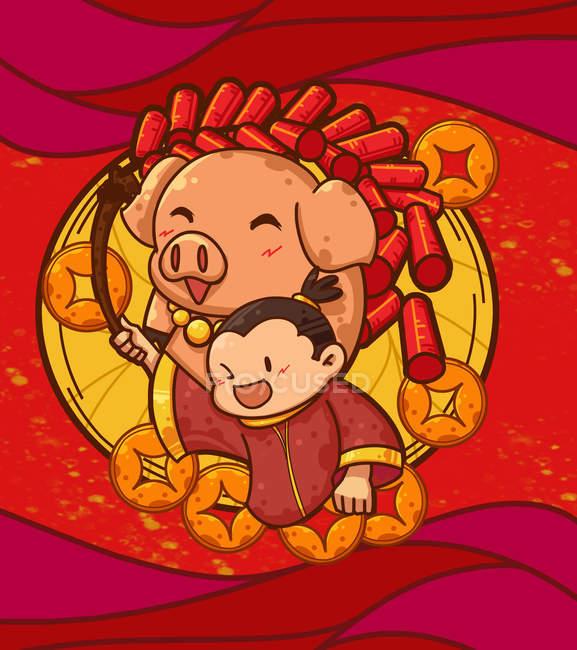 Творча ілюстрація року свині на червоному тлі — стокове фото