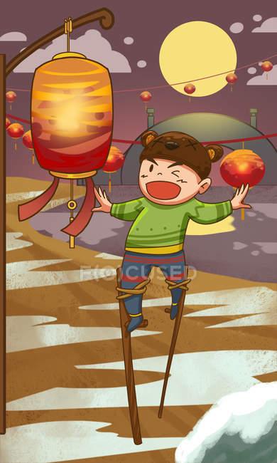 Творча ілюстрація щасливої дитини і яскраво освітлені червоні ліхтарі. — стокове фото