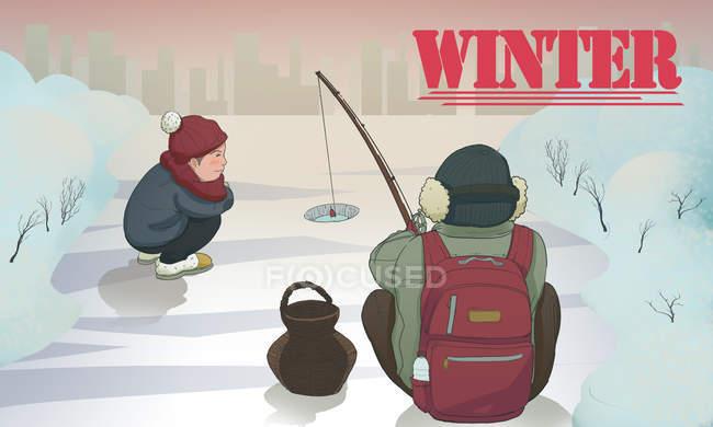 Творча ілюстрація про хлопчиків, які рибалять взимку. — стокове фото