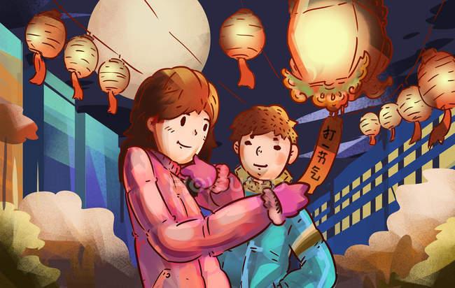 Творча притча про пару з ліхтарями і чагарниками вночі. — стокове фото