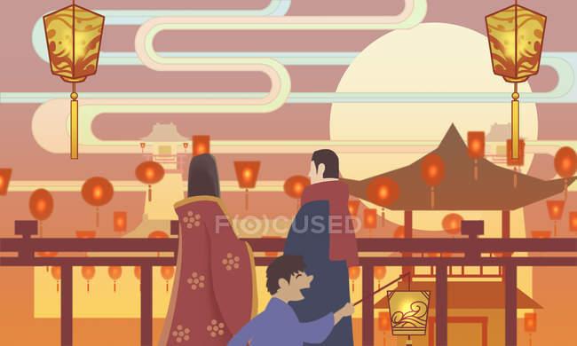 Творча ілюстрація людей і ілюміновані традиційні китайські ліхтарі. — стокове фото