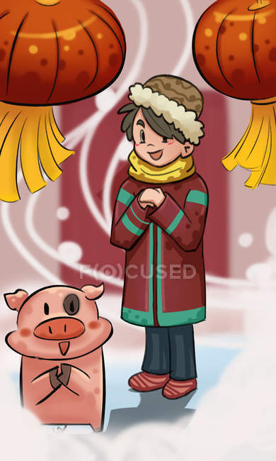 Beautiful creative illustration of boy with cute pig and lanterns, Celebrate the year of the pig concept — Stock Photo