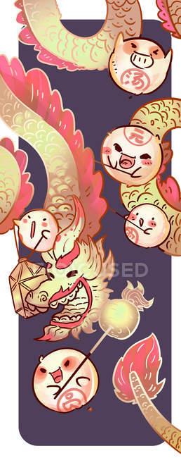 Beautiful creative illustration of dragon and fire, Lantern festival concept — Stock Photo
