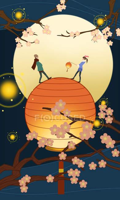 Beautiful creative illustration of couple on illuminated lantern and blossoming tree branches, lantern festival concept — Stock Photo