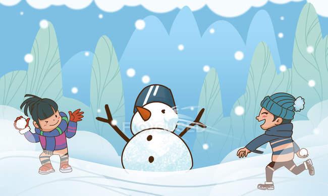 Творча боротьба снігопаду з щасливими дітьми. — стокове фото