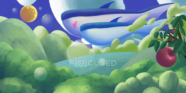Beautiful creative illustration of majestic mysterious landscape with whales in sky — Stock Photo